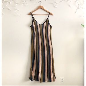 Zara Knit Green stripe maxi tank dress
